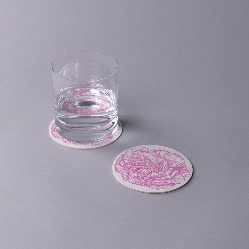 Dark Pink Rose Coasters
