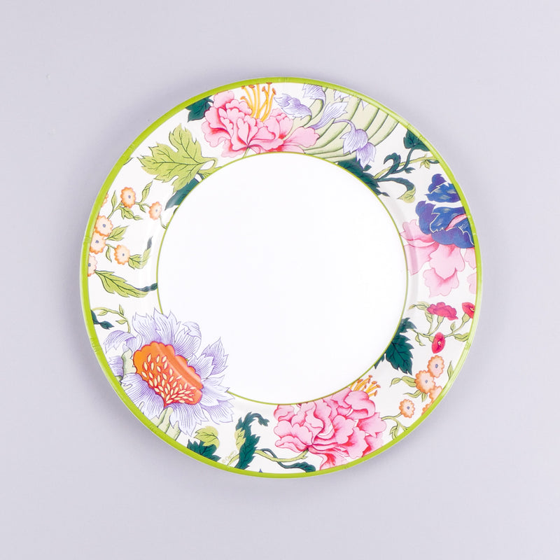 Chinese Silk Ivory Paper Dinner Plates