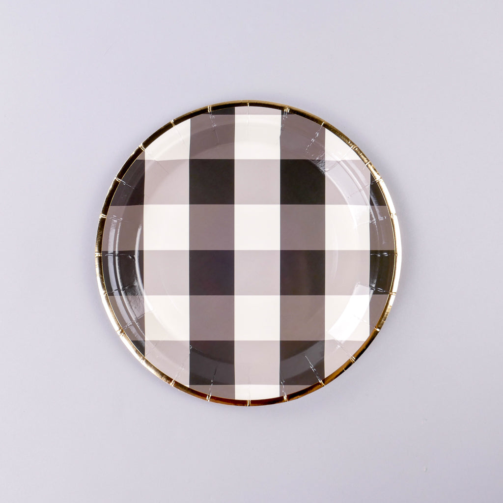 Black and White Check Paper Plates