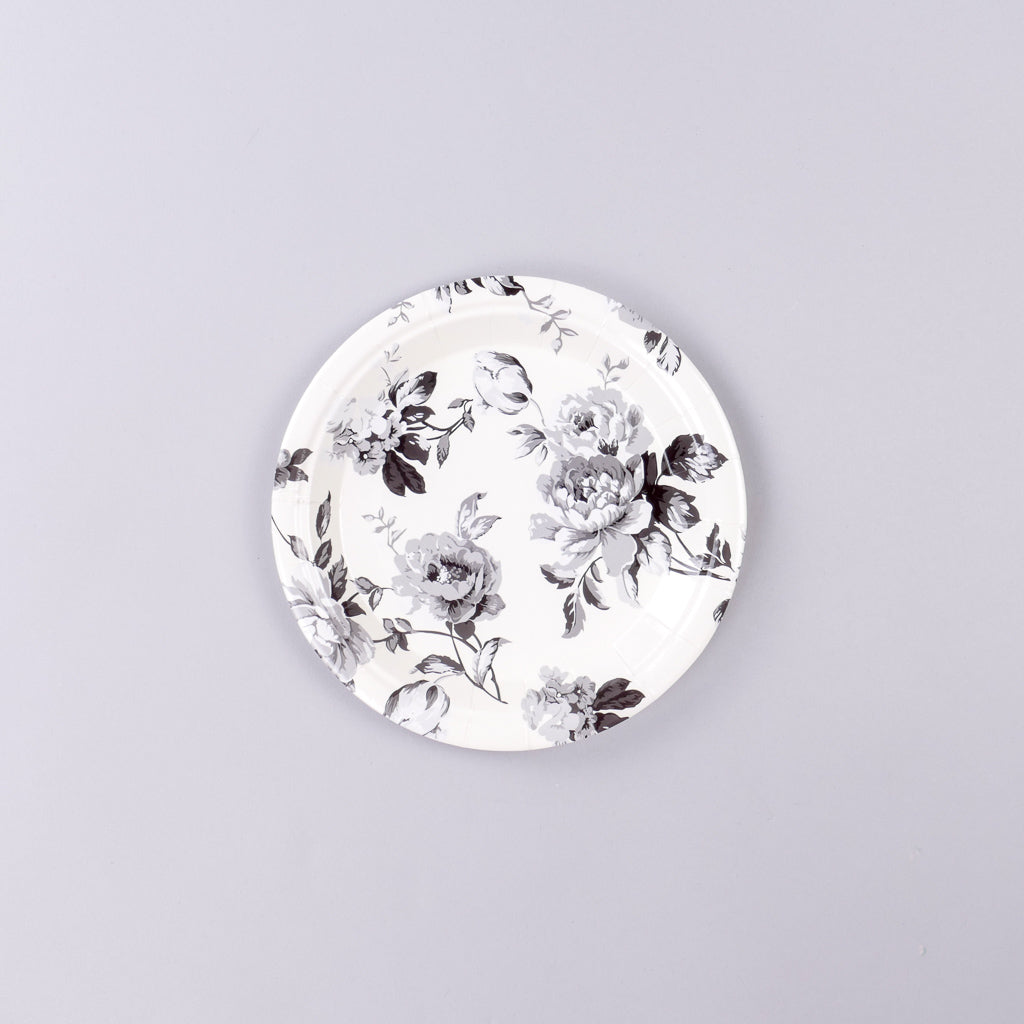 Black and White Floral Paper Salad Plates