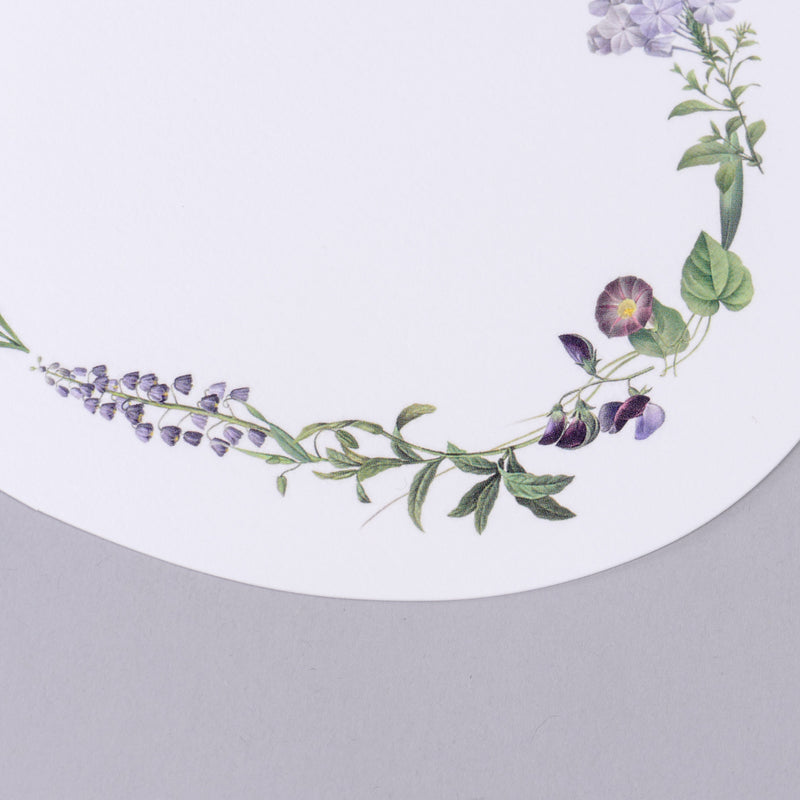 Purple Flowers Oval Card