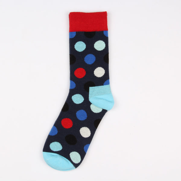 Red Blue Black Dots Socks