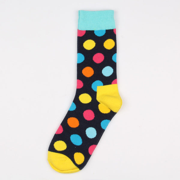 Blue Yellow Pink Orange Dots Socks