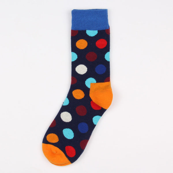 Blue Orange Red Dots Socks