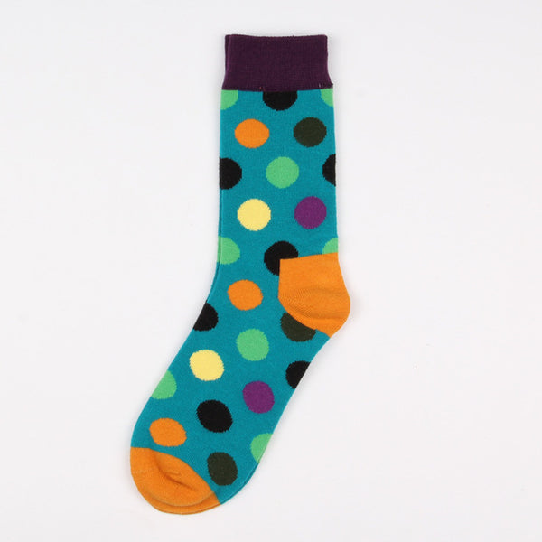 Purple Blue Green Orange Dots Socks