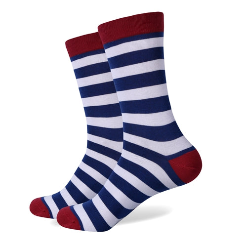 Red Blue White Stripes Socks