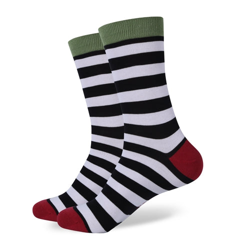 Green White Red Stripes Socks