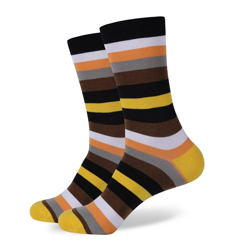 Black White Orange Grey Brown Yellow Stripes Socks