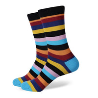 Black Orange Red Blue Yellow Stripes Socks