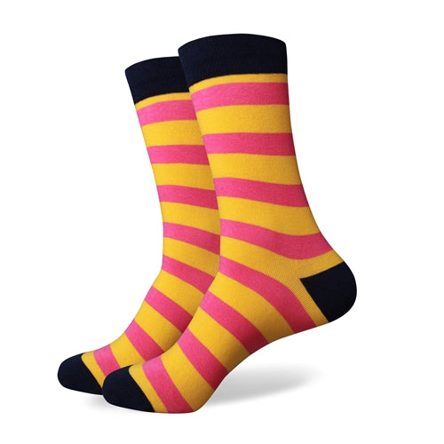 Blue Yellow Pink Stripes Socks