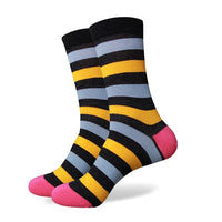 Grey Blue Yellow Pink Stripes Socks
