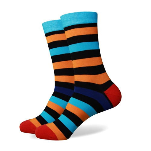 Blue Black Orange Stripes Socks