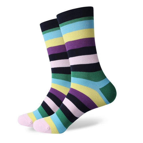 Black Green Blue Yellow Purple Stripes Socks