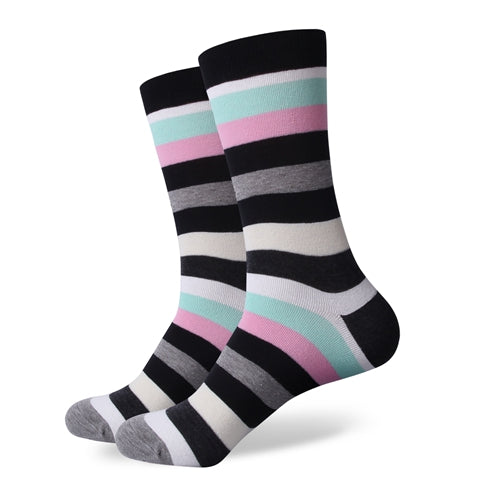Black White Green Pink Stripes Socks