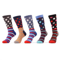 5 Pair Dots Stripes Socks