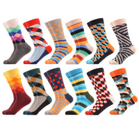 12 Pair Gradient Diamond Dots Stripes Optic Pattern Socks