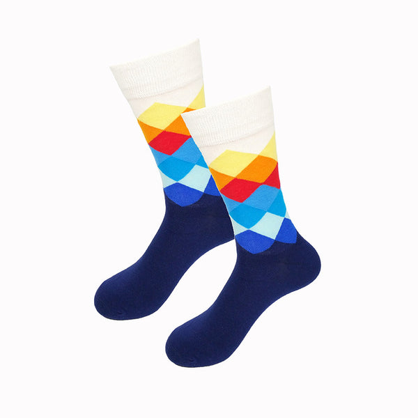 White Yellow Orange Red Blue Gradient Socks