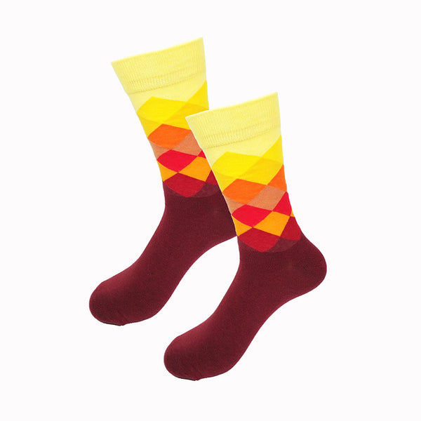Yellow Orange Red Gradient Socks
