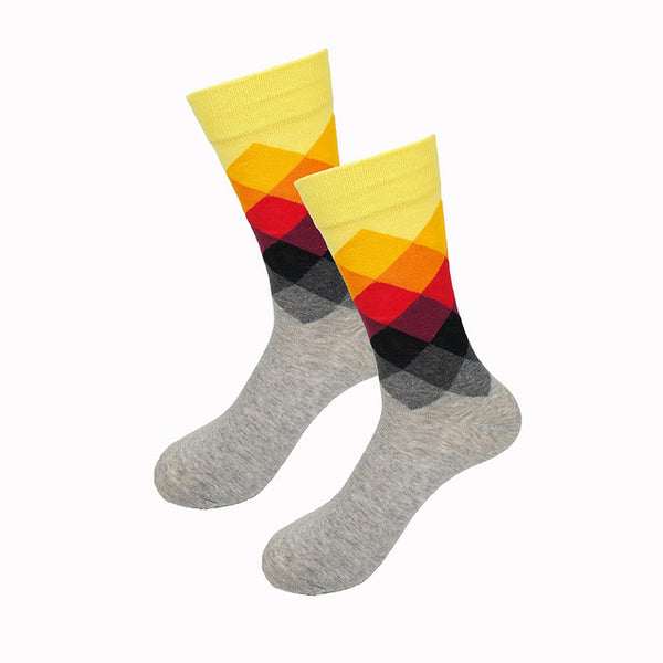 Yellow Orange Red Purple Gradient Socks