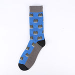 Grey Blue Cat Socks