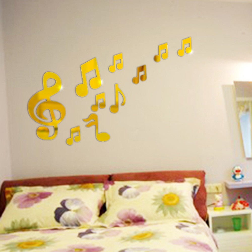 Music Notation 3D Stickers Mirror Sticker Home Living Room ...