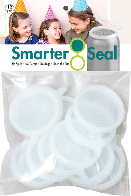 Smarter-Seal Soda/Beverage Can Lids | 12-Pack, Clear
