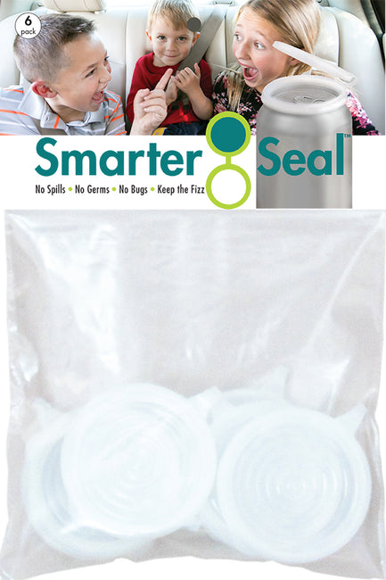 Smarter-Seal Soda/Beverage Can Lids | 6-Pack, Clear