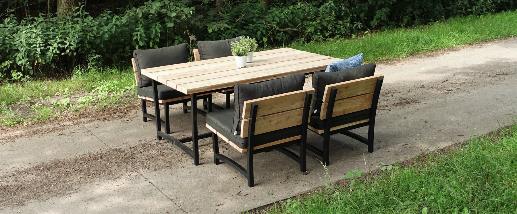 Low-dining set staal en hout Acero