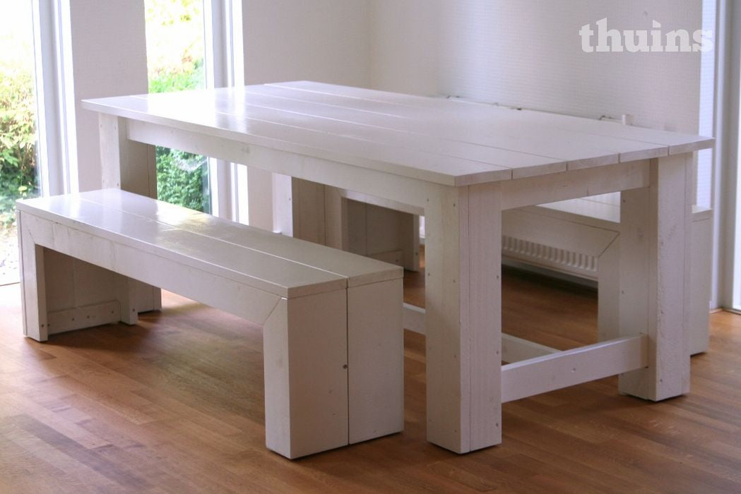 Bank Design en eettafel Original, wit gelakt