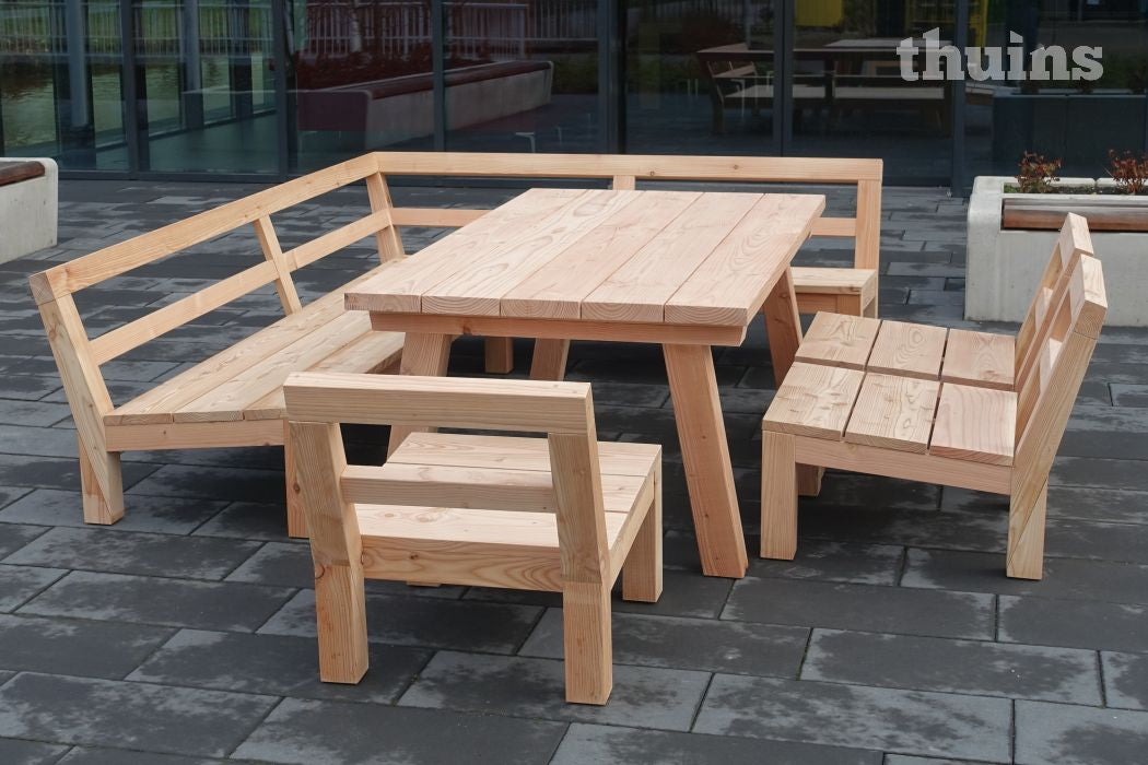 Low-dining set Lono van Douglas hout