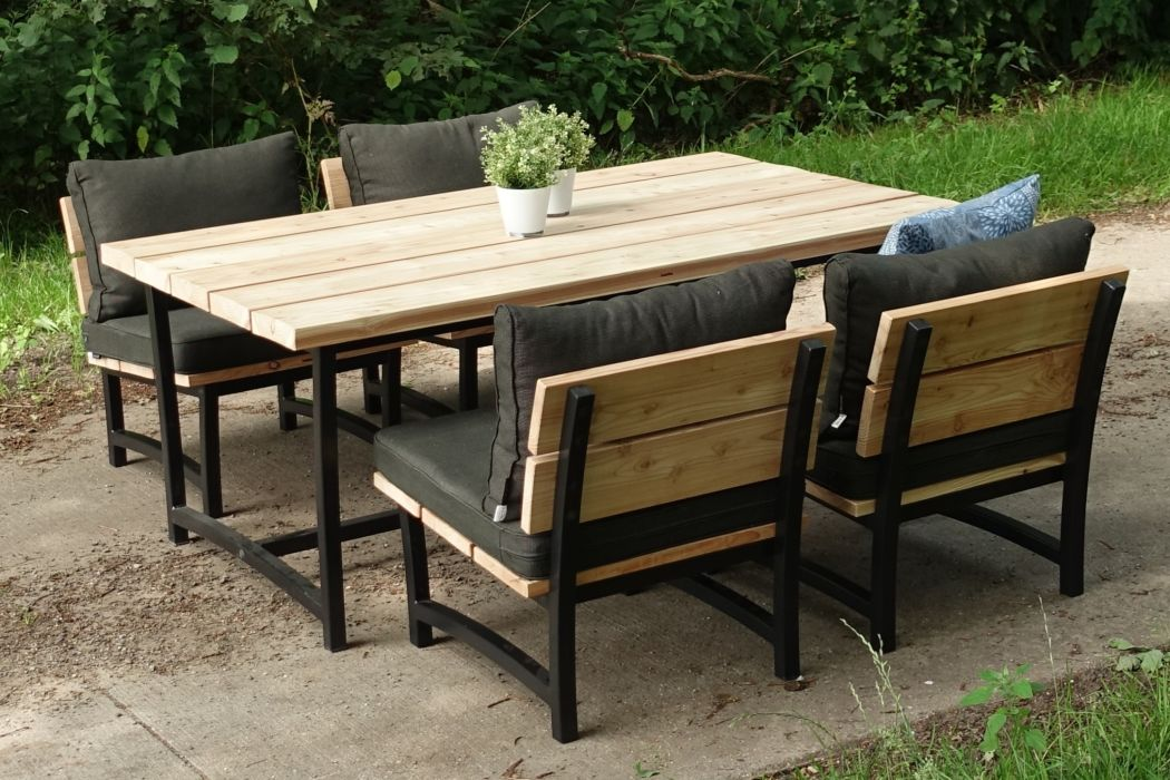 Low-diningset Acero met loungekussens Rib Black