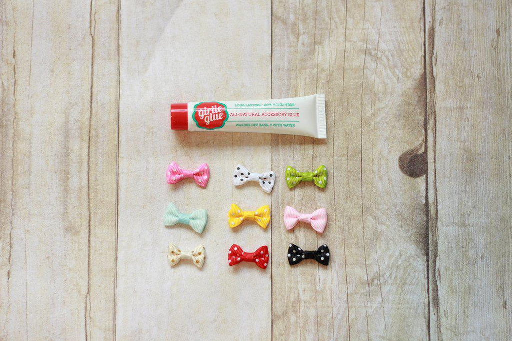 Girlie Glue 7 tiny bows - Luna Baby Modern Store