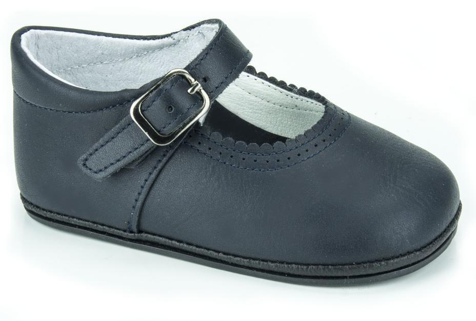Patucos Soft Leather Mary Janes Navy Shoes for girls - Luna Baby Modern Store