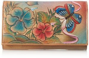 Anuschka Genuine Leather Hand Painted Clutch Wallet