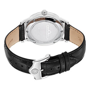 Alexander Statesman Regalia Wrist Watch For Men - Black Leather Stainless Steel Analog Swiss Watch - Silver White Dial Date Small Seconds Mens Designer Watch A102-01