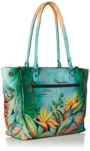 Anushcka Ex Large Multi-Compartment Convertible Laptop Tote Handpainted Leather