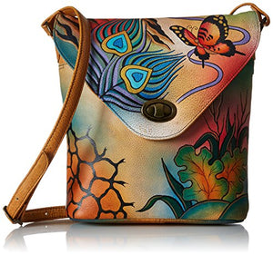 Anuschka Handpainted Leather 8059-PKC V Shape Flap Bag, Peacock Collage, One Size