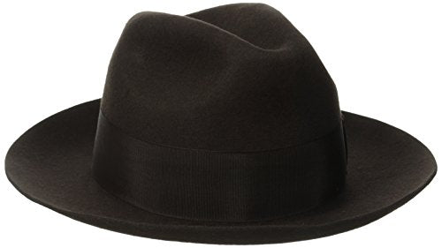 Stacy Adams Men's Cannery Row Wool Felt Fedora Hat, Chocolate, X-Large