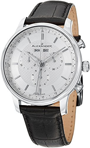 Alexander Statesman Chieftain Men's Multi-function Chronograph Silver Dial Black Leather Strap Swiss Made Watch A101-01