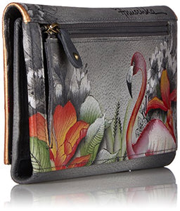 Anuschka, Handpainted Leather Three Fold Clutch Wallet