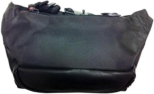 Cowhide Leather Large Fanny Pack Color: Black