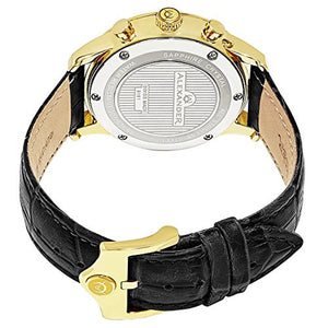Alexander Statesman Chieftain Wrist Watch For Men - Black Leather Analog Swiss Watch - Stainless Steel Plated Yellow Gold Watch - Silver Dial Day Date Month Mens Chronograph Watch A101-07
