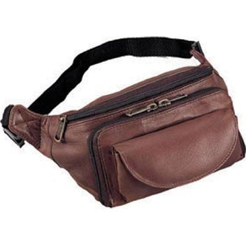 Cowhide Leather Large Fanny Pack Color: Brown