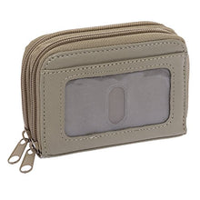 Roma Leathers Genuine Leather Mini ID & Credit Card Holder (Taupe)