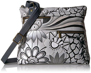 Anuschka Hand Painted Leather Large Crossbody Habdbag