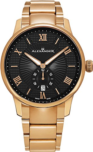 Alexander Statesman Regalia Bracelet Wrist Watch For Men - Black Dial Date Small Seconds Analog Swiss Watch - Stainless Steel Plated Rose Gold Watch - Mens Designer Watch A102B-05