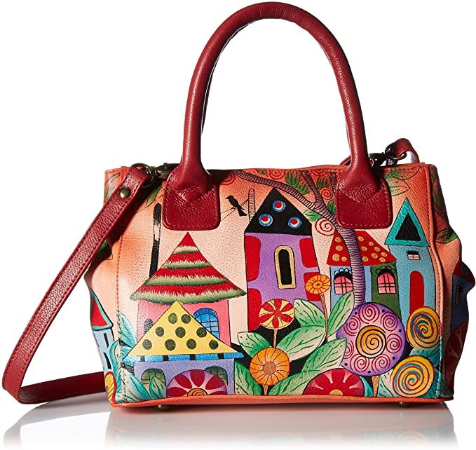 Anna by Anuschka Hand Painted Leather Women's Small Convertible Tote, Village Off Dream