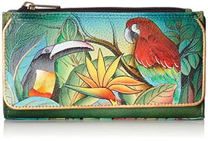 Anuschka Hand Painted Genuine Leather Organizer Clutch Wallet