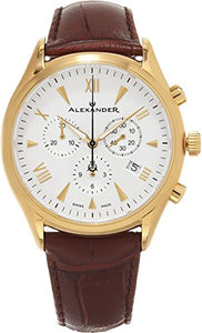 Alexander Heroic Pella Men's Multi-function Chronograph Brown Leather Strap Yellow Gold Plated Swiss Made Watch A021-05