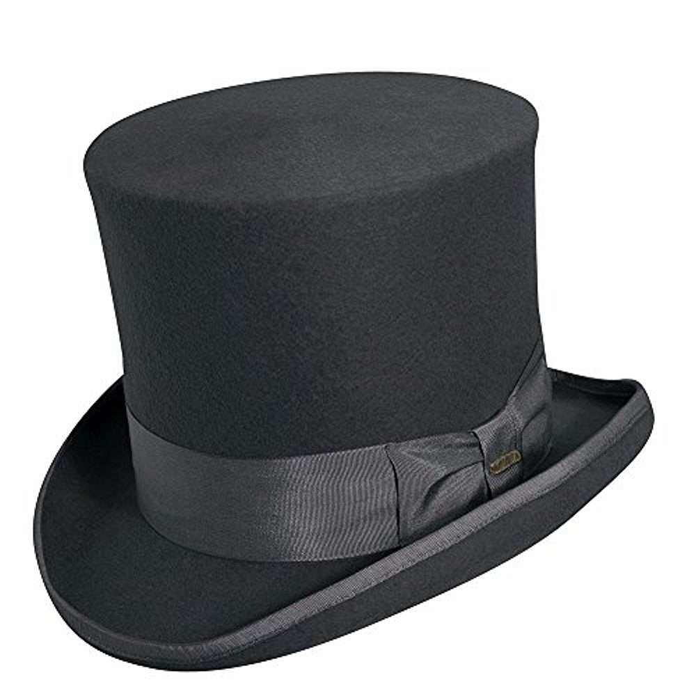 Scala Classico Men's Wool Felt Top Hat,Grey,L